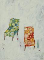 ワインと2脚の花柄の椅子 02640000085| 写真素材・ストックフォト・画像・イラスト素材|アマナイメージズ