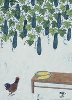 ヘチマと鶏とトウモロコシ