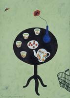 茶器と赤い花と蜂 02640000088| 写真素材・ストックフォト・画像・イラスト素材|アマナイメージズ