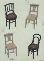 白い椅子2脚と茶色い椅子2脚 02640000094| 写真素材・ストックフォト・画像・イラスト素材|アマナイメージズ