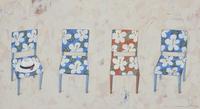 4脚の花柄の椅子と白い帽子 02640000103| 写真素材・ストックフォト・画像・イラスト素材|アマナイメージズ