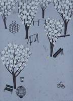 公園と公園に咲く白い花 02640000109| 写真素材・ストックフォト・画像・イラスト素材|アマナイメージズ