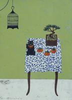 黒い招き猫と松の盆栽