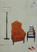 積み上げられた本とオレンジのソファ 02640000113| 写真素材・ストックフォト・画像・イラスト素材|アマナイメージズ