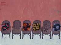 一列に並べられたたくさんの籐の椅子 02640000117| 写真素材・ストックフォト・画像・イラスト素材|アマナイメージズ