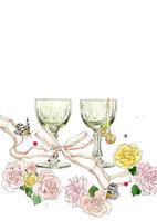 ピンクの花とワイングラス