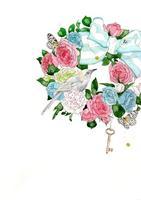 花のリースと鳥