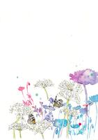 白い花と蝶と青いシルエット