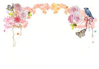 ピンクの薔薇と蝶と青い鳥