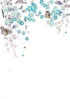 青い花と蝶と紫のシルエット
