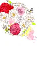 パールのネックレスと薔薇