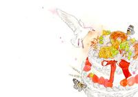 白い鳥とケーキとオレンジの花