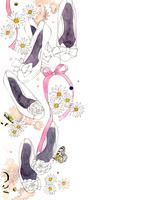 白い靴とピンクのリボンと白い花