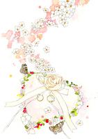 白い花とピンクのハートのリングピロー