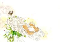 白い靴と薔薇のブーケ