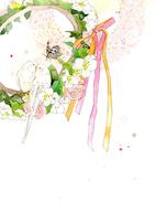 白い鳥と花のティアラとリボン