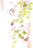 白い花と指輪とピンクの宝石
