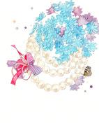青い花とパールとリボン