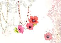 ピンクの花とネックレス