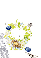 アンティークブローチと青い宝石と花のリース