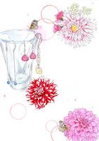 ガラスグラスにピアスとピンクの花
