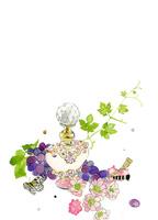 香水瓶と葡萄とピンクのお花 02646000026| 写真素材・ストックフォト・画像・イラスト素材|アマナイメージズ