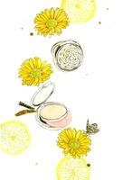 コンパクトと黄色の花とレモン