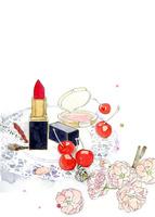 口紅とチークとさくらんぼと桜の花