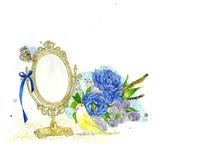 鏡と黄色の鳥と青い花束