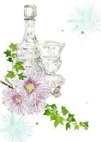 アンティークグラスと紫の花