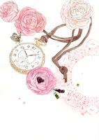 アンティークな懐中時計とピンクの花とレース
