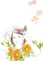 女の子とリボンとオレンジの花