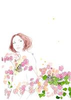 女の子とピンクの花