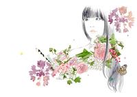 長髪の女の子と花のブーケ