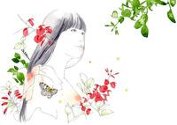 女の子とデイゴの花