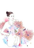 女性とピンクの花