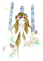 女性と白い花と祈り