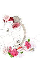 女性と鏡と薔薇