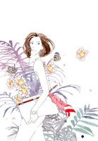 女性とピンクの花と椰子