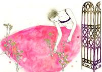 花とピンクのドレスの女性