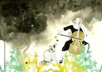 チェロを弾く女性とあらいぐま