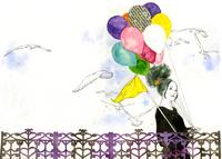 風船を持つ女性と鳥