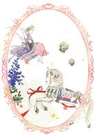 ブランコに乗る王冠をかぶった少女と木馬