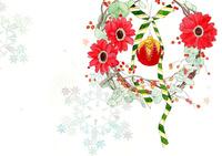 クリスマスオーナメントと赤い花と雪の結晶