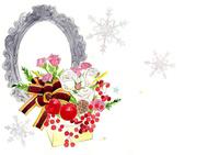 白い花とアンティーク額縁と雪の結晶