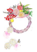 しめ縄と南天と小手毬の花