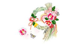しめ縄と椿の花