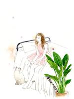 ピンクの服を着た女性とシャムネコ