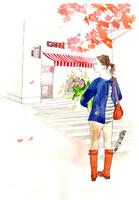 花束を抱える女性とカフェ