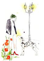 赤いパンプスの女性と犬